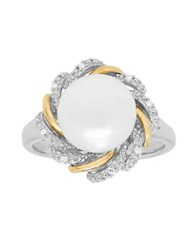 Lord And Taylor 10Mm White Button Freshwater Pearl Diamond Sterling Silver 14K Yellow Gold Floral Ring