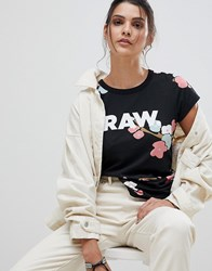 G Star Be Raw Floral T Shirt With Logo Black