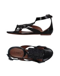 Alaia Toe Strap Sandals Black