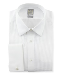 Ike Behar Pleated Tuxedo Shirt White