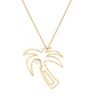 Hillier Mytheresa.Com Exclusive Palm Tree Paper Clip 14Kt Yellow Gold Necklace With White Diamond