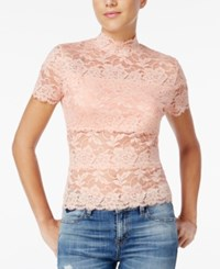 Guess Shayna Mock Turtleneck Lace Top Coral Cloud