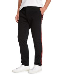 Ovadia And Sons Side Stripe Chino Track Pants Black Red