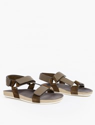 Marc Jacobs Khaki Leather Velcro Sandals