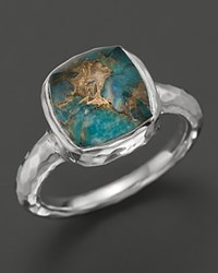 Ippolita Sterling Silver Sugarloaf Square Stone Ring In Bronze Turquoise Doublet