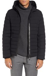 Mackage Men's Lux Water Repellent Hooded Down Jacket With Leather Trim Black