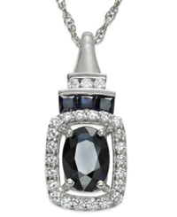 Macy's 14K White Gold Necklace Sapphire 1 Ct. T.W. And Diamond 1 5 Ct. T.W. Pendant