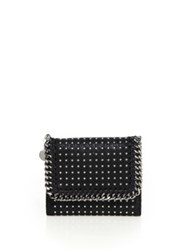 Stella Mccartney Small Studded Faux Leather Flap Wallet Black