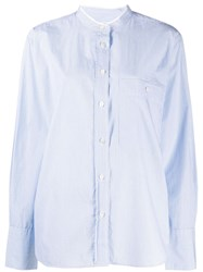 Closed Striped Band Collar Shirt Blue