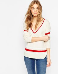 Asos Fine Jumper With Placement Stripe Detail In V Neck Cream