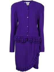 Christian Dior Vintage Knitted Ruffle Skirt Suit Pink And Purple