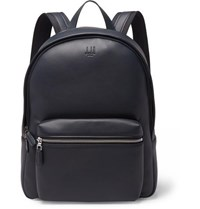 Dunhill Hampstead Canvas Panelled Full Grain Leather Backpack Midnight Blue