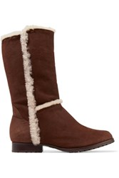 Schutz Angel Shearling Trimmed Nubuck Knee Boots Chocolate