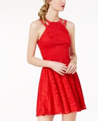 B. Darlin B Juniors' Lace Double Strap Fit And Flare Dress Red
