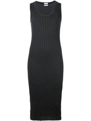 Brunello Cucinelli Ribbed Fitted Dress Grey