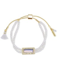 Lonna And Lilly Gold Tone Aqua Beaded Slider Bracelet Pearl