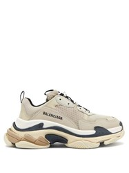 Balenciaga Triple S Mesh And Leather Trainers Beige Multi