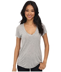 Lamade Short Sleeve Low V Neck Boyfriend Tee Heather Grey Women's Short Sleeve Pullover Gray
