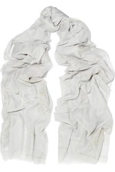Donna Karan Printed Metallic Cotton And Silk Blend Scarf Gray