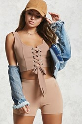 Forever 21 Satin Lace Up Crop Top