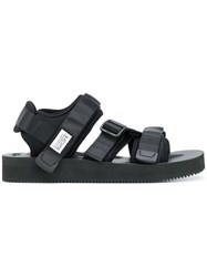 Suicoke Hook And Loop Strappy Sandals Black