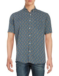 Laboratory Lt Man Dot And Triangle Rayon Button Down Shirt Grey