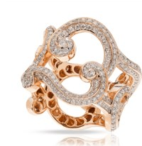 Faberge Rococo Lace Diamond Rose Gold Ring