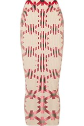 Paco Rabanne Printed Ribbed Cotton Blend Maxi Skirt Red