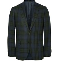 Paul Smith Soho Slim Fit Checked Silk Linen And Wool Blend Blazer Navy
