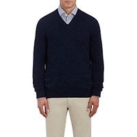 Ermenegildo Zegna Men's Brushed Alpaca Blend V Neck Sweater Navy