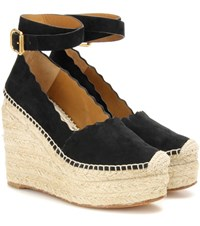 Chloe Lauren Suede Wedge Espadrilles Black
