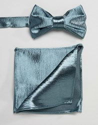 Asos Design Satin Bow Tie And Pocket Square In Green