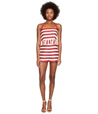 Red Valentino Striped Cotton Romper White Women's Jumpsuit And Rompers One Piece Red