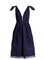Self Portrait Deep V Neck Broderie Anglaise Dress Navy