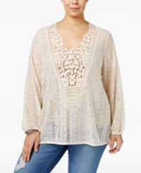 Eyeshadow Trendy Plus Size Crocheted Lace Top White
