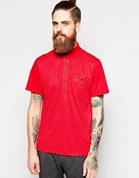 Farah Vintage Polo Shirt With All Over Cross Print In Slim Fit Red
