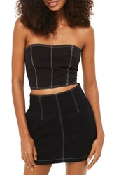 Topshop Women's Stab Stitch Corset Top Black Multi