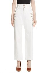 See By Chloe 'S Lace Up Wide Leg Trousers White Powder