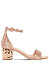 Salvatore Ferragamo 55Mm Azalea Embellished Satin Sandals Pink
