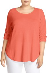 Eileen Fisher Plus Size Women's Organic Cotton And Cashmere Ballet Neck Pullover Guava