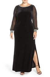 Alex Evenings Plus Size Women's Back Drape Velvet A Line Dress