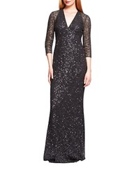 Kay Unger Sequined Lace Gown Smoke