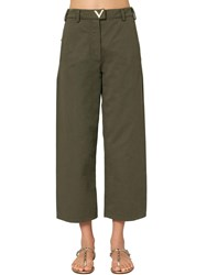 Valentino Cropped Wide Leg Cotton Canvas Pants Military Green
