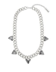 Steve Madden Faceted Triangle Station Necklace Silver