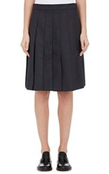 Thom Browne Women's Wool Blend Pleated Skirt Dark Grey