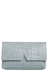 Vince Croc Embossed Leather Clutch Grey Chambray