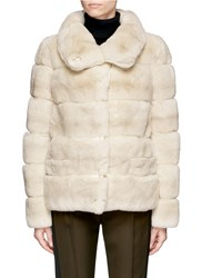 Yves Salomon Leather Trim Stripe Panels Rabbit Fur Coat White