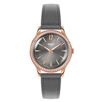 Henry London Ladies 34Mm Finchley Leather Watch With Stone Set Bezel Grey Rose Gold