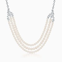 Tiffany And Co. Paloma Picasso Olive Leaf Three Row Pearl Necklace In Sterling Silver.