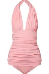 Norma Kamali Bill Ruched Halterneck Swimsuit Baby Pink